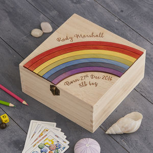 Personalised New Baby Keepsake Trinket Storage Box