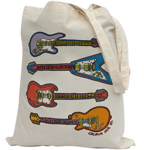 Tote Bag To Colour In With Guitars