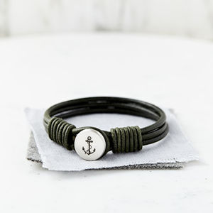 Personalised Silver And Leather Anchor Bracelet - bracelets
