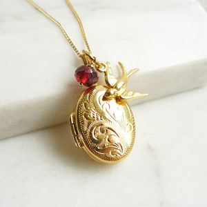 Personalised Engraved Gold Locket Necklace With Swallow - necklaces & pendants