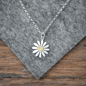 Aster Flower Pendant Necklace In Silver And 18ct Gold