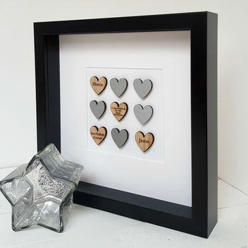 25th Silver Wedding Anniversary Oak Hearts Artwork