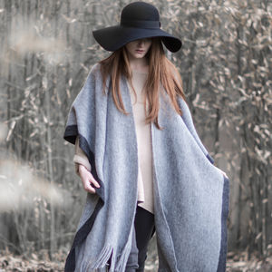 Grey Contrast Knitted Wrap With Tassels
