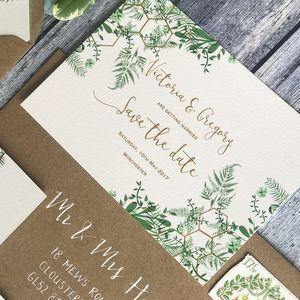 Geo Botanica Wedding Invitation - save the date cards