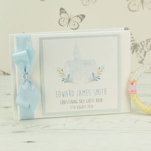 Personalised Watercolour Church Christening Guest Book
