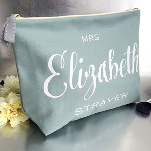 Personalised 'Duck Egg' Glitter Luxury Wash Bag - bridal beauty