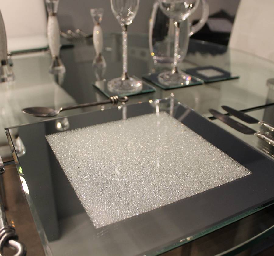Set Of Mirrored Placemats With Swarovski Crystals By
