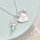 Personalised Silver Fairy Charm Birthstone Necklace - Pink Fresh Water Pearl Birthstone