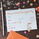 Pack Of Six Children's Party Invitation Postcards