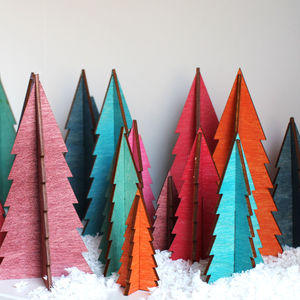 Wooden Trees In Tropical Colours - tree decorations