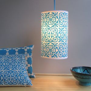 Moroccan Tile Long Drum Lampshade - bedroom