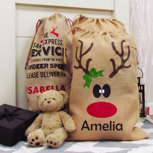 Personalised Reindeer Christmas Santa Sack - personalised