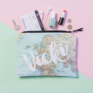 Personalised Travel Map Accessory Pouch - passport & travel card holders