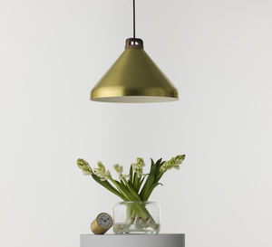 Handle Pendant Lamp, Wide, Brass