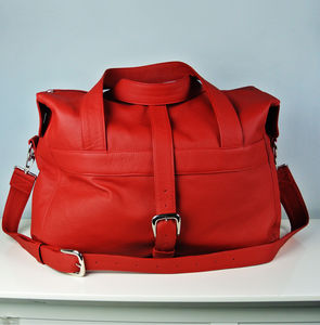 Personalised Handcrafted Red Leather Overnight Bag - holdalls & weekend bags