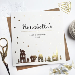 Personalised First Christmas Foiled Card Town - new in christmas
