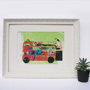 'London Zoo' Original Screen Print Animals Red Bus