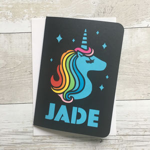 Rainbow Unicorn Paper Cut Card - children's birthday cards