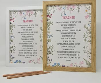 Personalised Gift For Teacher Poem