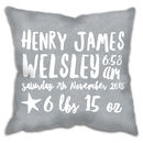 Personalised Baby Birth Details Cushion