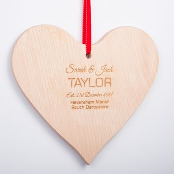 Personalised Valentines Wooden Hanging Heart Plaque