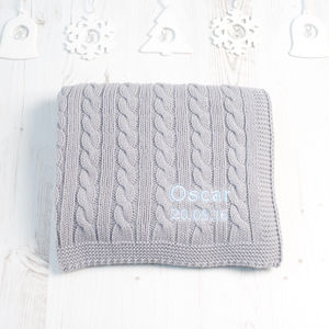 Baby Boys Hound Grey Cable Blanket - baby's room
