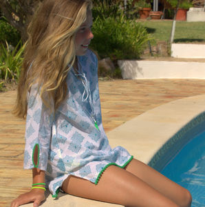 Blue Beach Kaftan - children's nightwear