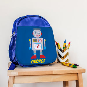 Children's Personalised Retro Robot Mini Rucksack