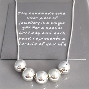 50th Birthday Handmade Silver Bead Necklace