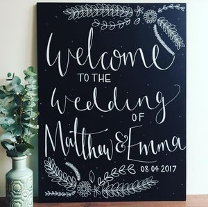 Large Floral Welcome Chalkboard Sign - room signs