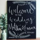 Large Floral Welcome Chalkboard Sign