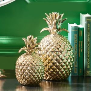 Gold Pineapple Decorative Storage Jar - kitchen accessories