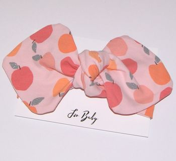 Peach Print Baby Bow Headband