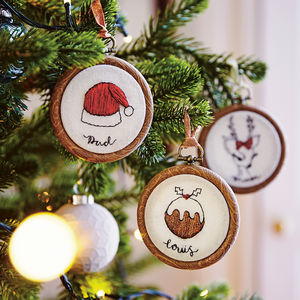personalised embroidered christmas hoop decoration christmas decorations
