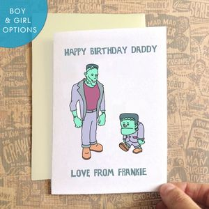 Personalised Frankenstein Daddy Birthday Card