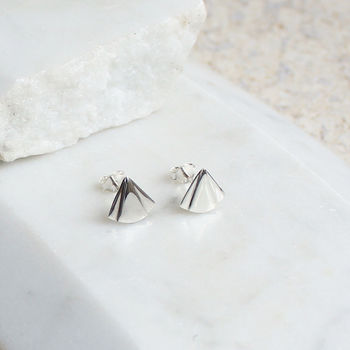 Art Deco Fan Stud Earrings Silver