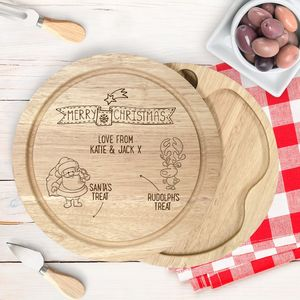 Engraved Wooden Santa Treat Cheeseboard Set