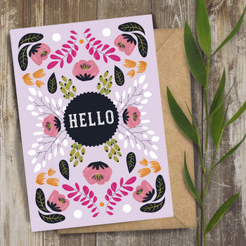Hello Retro Vintage Floral Art Greeting Card