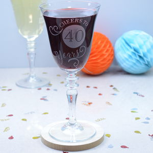 Cheers To 40 Years Wine Glass - what's new