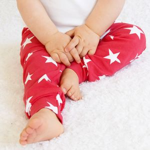Unisex Red Star Print Child And Baby Leggings - more