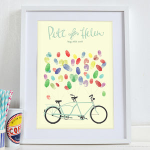Custom Bicycle Wedding Fingerprint Guestbook