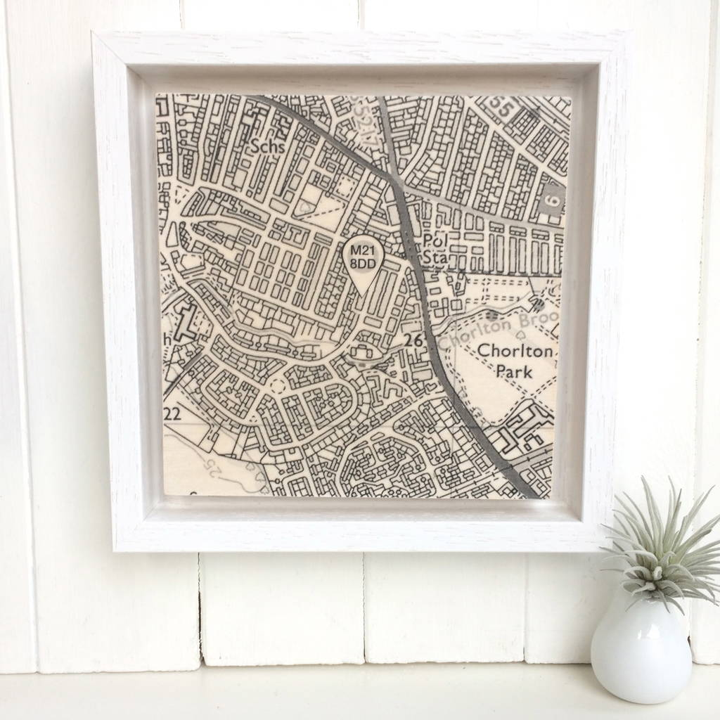 new home postcode map print on wood by northern logic ...