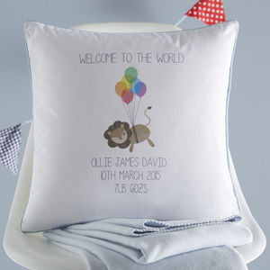 New Baby Personalised Cushion - baby's room