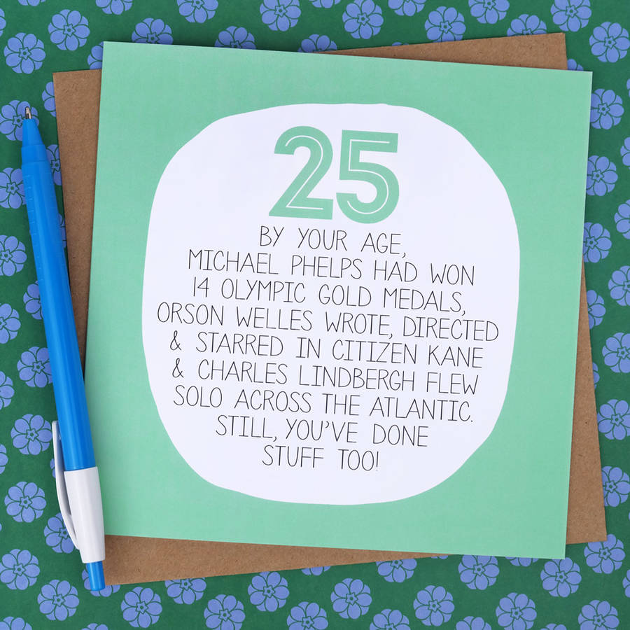 By Your Age Funny 25th Birthday Card Paper Plane