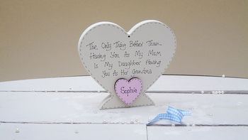 Personalised Hand Decorated Grandma Heart