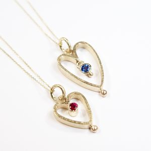 Yellow Gold Sapphire Or Ruby Heart Pendants