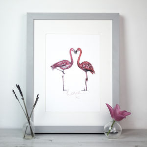 Love Pink Flamingos Print - animals & wildlife