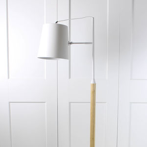 White Stem Wooden Floor Lamp - lighting