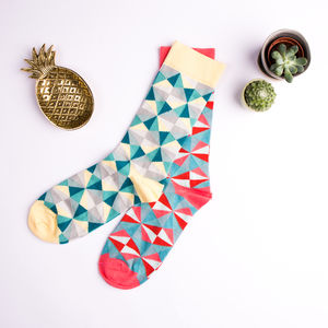 Colourful Geometric Cotton Socks - socks