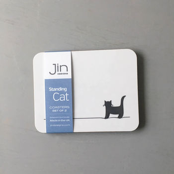 Standing Cat Coasters, Set Of Two